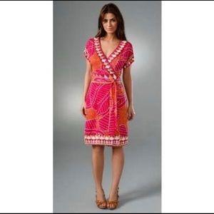 DVF Nalia Silk Wrap Dress Magenta Multicolor 10
